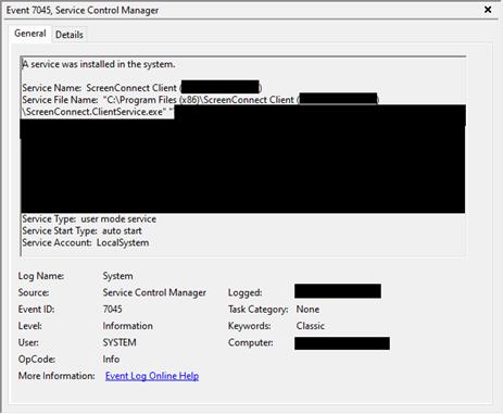 ScreenConnect service installation Windows Eventlog.