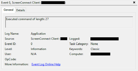 ScreenConnect command execution eventlog